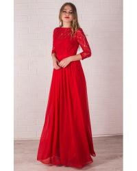 Red Long Bridesmaid Dress Lace Handmade Red Chiffon