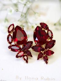 Ruby Earrings, Ruby Red Swarovski Cluster Earrings, Bridal ...