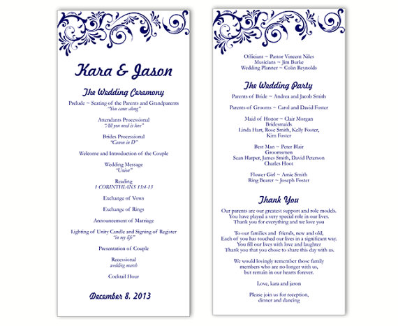 Wedding Program Template DIY Editable Word File Instant Download - printable program templates