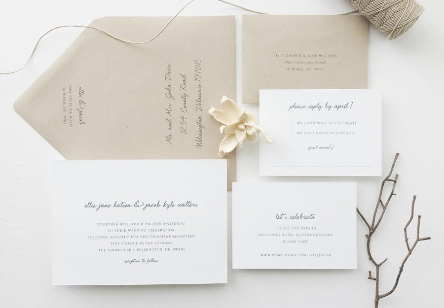 PAPER SAMPLES Ellie Simple Wedding Invitation / Save The Date