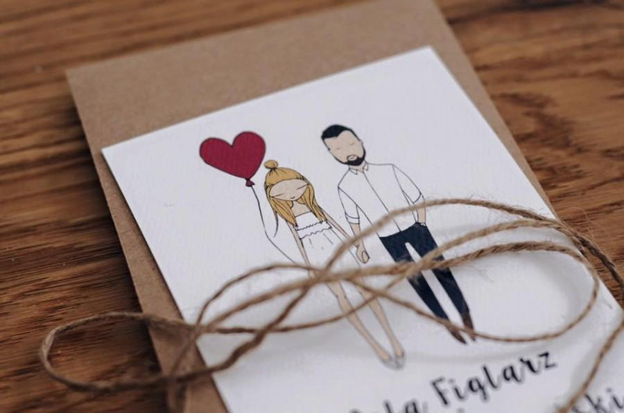 Custom Illustrated Couple Quirky Wedding Invitations