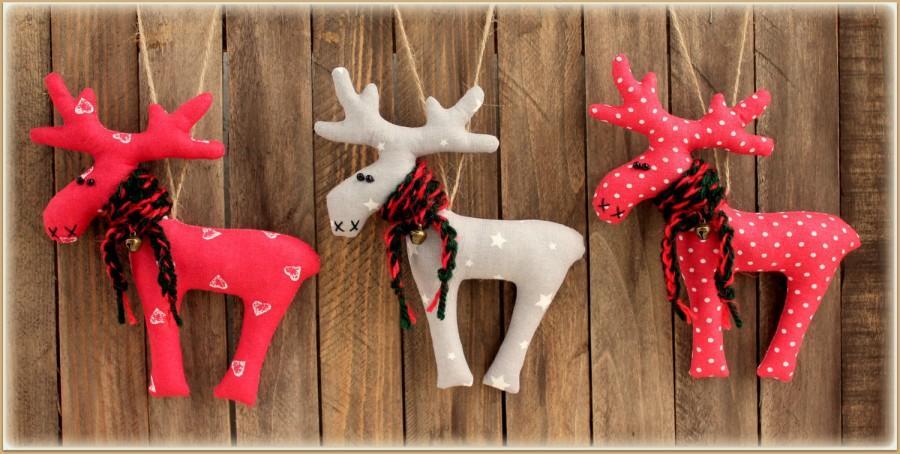 Set Of 3 Toys Reindeer Christmas Decor Winter Décor Gift Soft Home - primitive christmas decorations