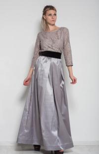 Maxi Formal Dress Evening Grey Dress Flared Lace Dress ...