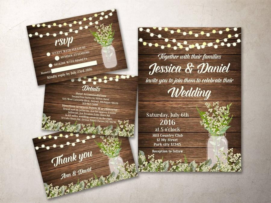 Wedding Invitation Kit Printable, Rustic Wedding Invitation, Baby