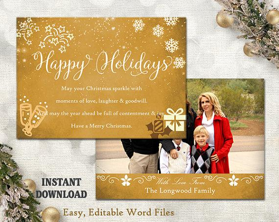 Christmas Card Template - Holiday Greeting Card - Gold White