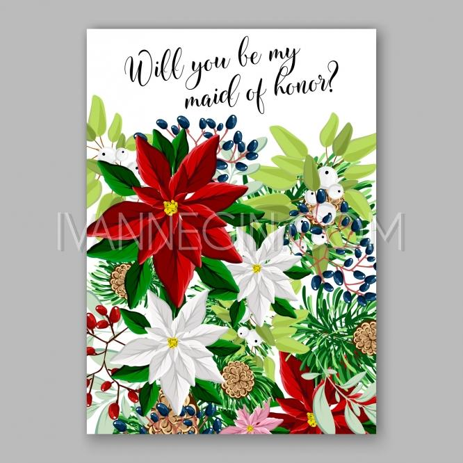 Poinsettia Wedding Invitation Card Beautiful Winter Floral Ornament