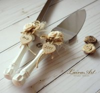 Cake Server Set & Knife Rustic Wedding Cake Cutting Set ...