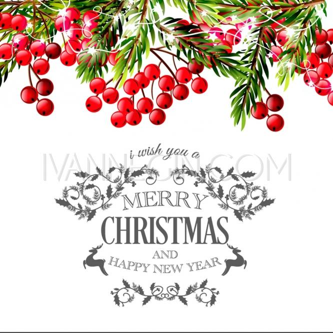 Merry Christmas And Happy New Year Invitation Template Gift Box