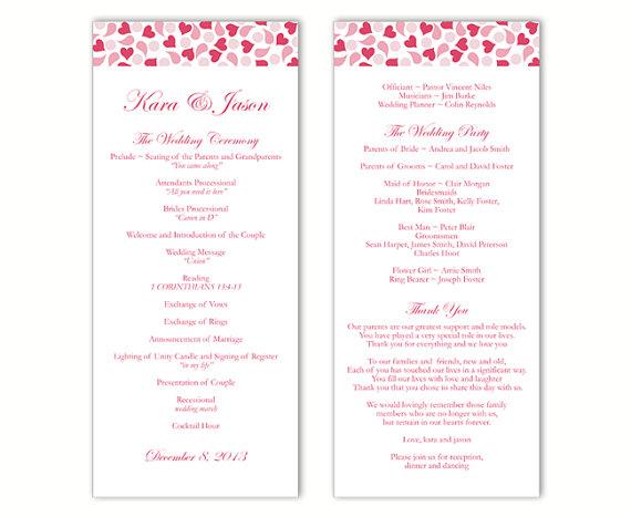 Wedding Program Template DIY Editable Word File Instant Download - wedding programs word template