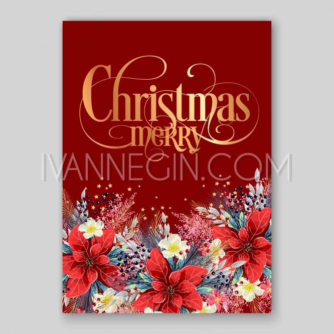 Wedding Invitation Card Beautiful Red Poinsetti Winter Floral