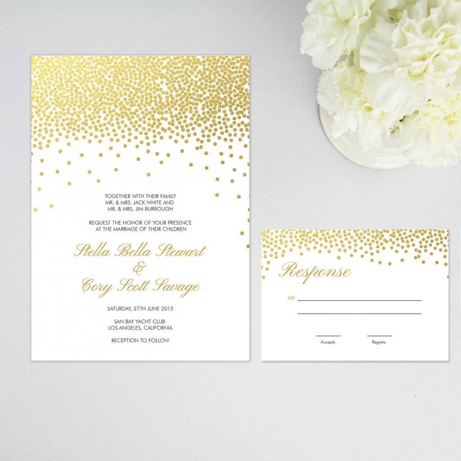 Faux Gold Foil Confetti Dots Elegant Wedding Invitation
