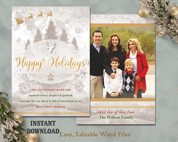 Christmas Card Template - Holiday Greeting Card - Christmas Tree