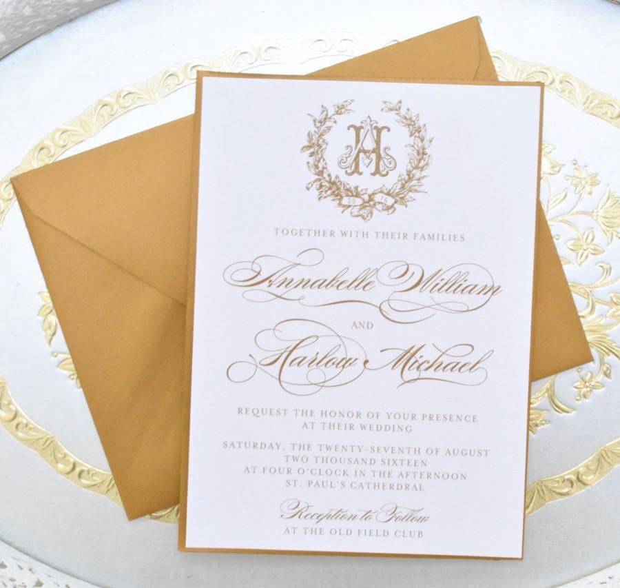 Gold Wedding Invitation, Monogram Invitation, Elegant Wedding