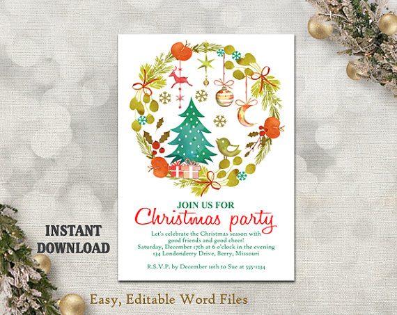Printable Christmas Party Invitation Template - Wreath - Holiday