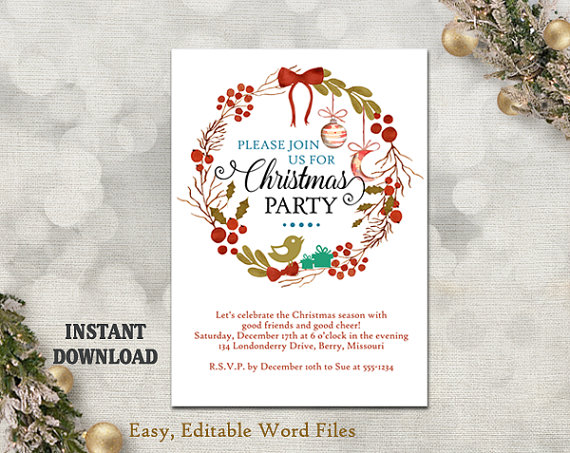 Christmas Party Invitation Template - Printable Holly Wreath