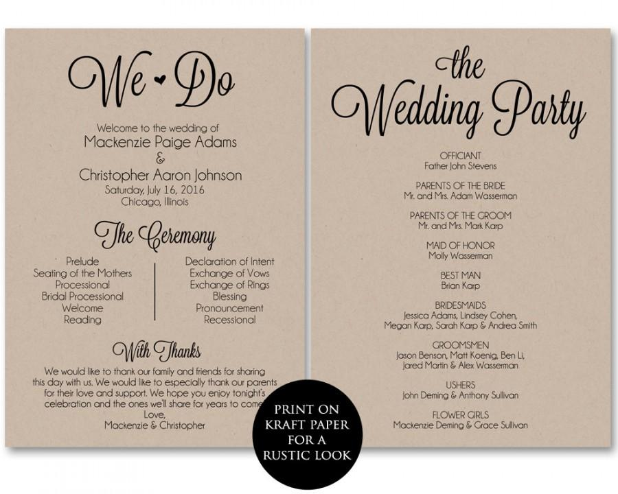 Ceremony Program Template, Wedding Program Printable, We Do, Wedding - wedding program template