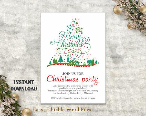 Christmas Party Invitation Template - Printable Christmas Tree - printable christmas card templates