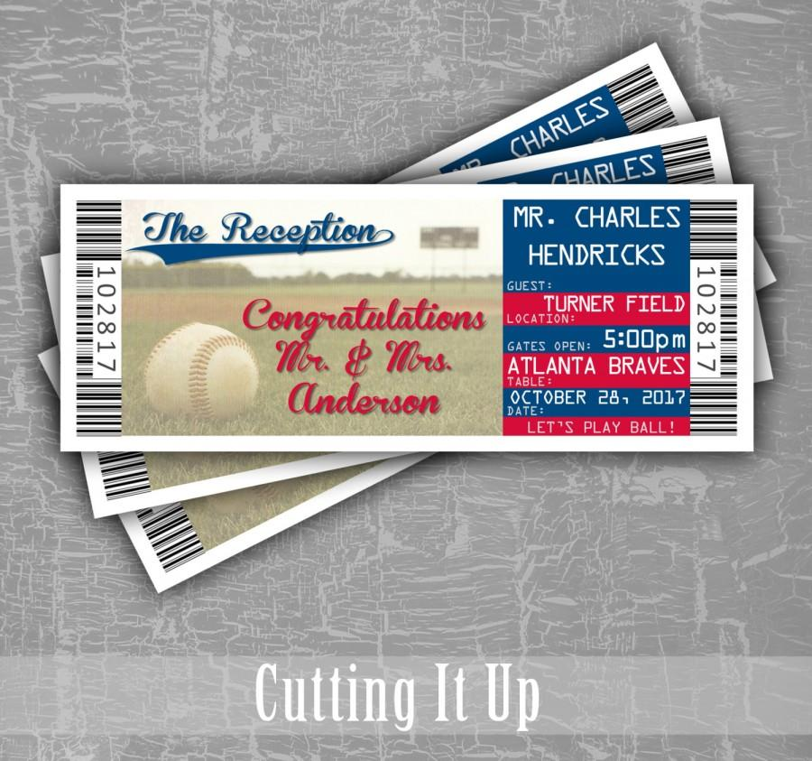 Baseball Wedding Escort Cards, Seating Cards, Baseball Tickets - Ball Ticket Template