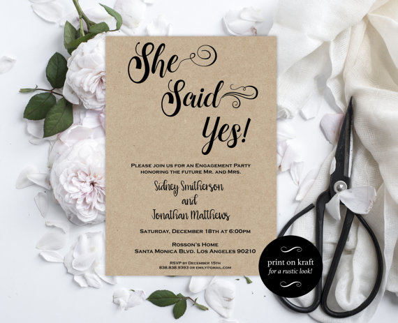 Engagement Party Invitation - Engagement Invite - She Said Yes