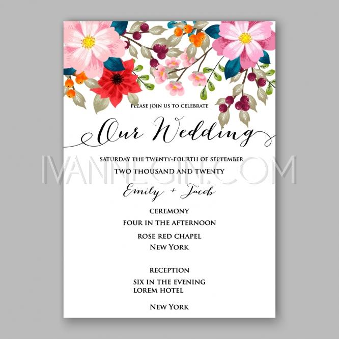 Peony Wedding Invitation Card Floral Printable Template - Unique