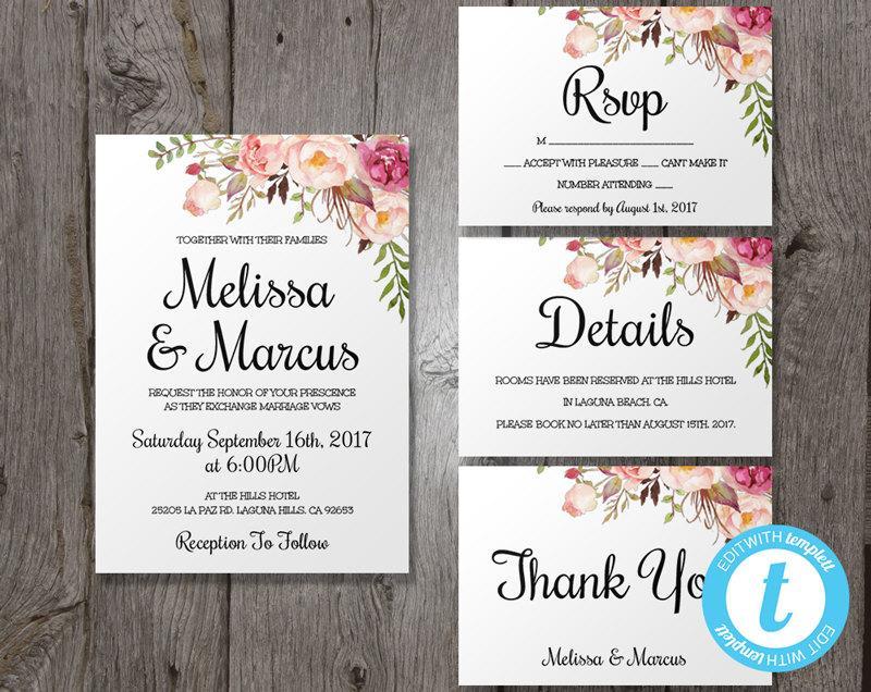 Wedding Invitation Template Set, Floral Boho Wedding Invite