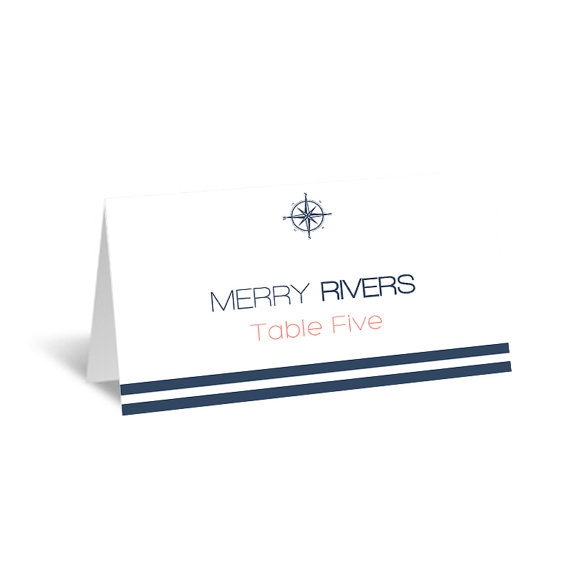 Nautical Wedding Place Card Template - Foldover Navy Compass Striped