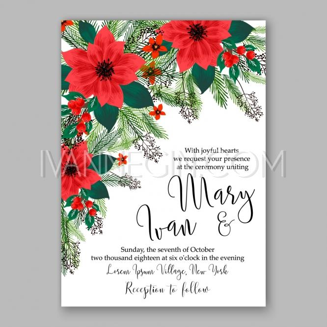 Poinsettia Wedding Invitation Sample Card Beautiful Winter Floral - sample cards
