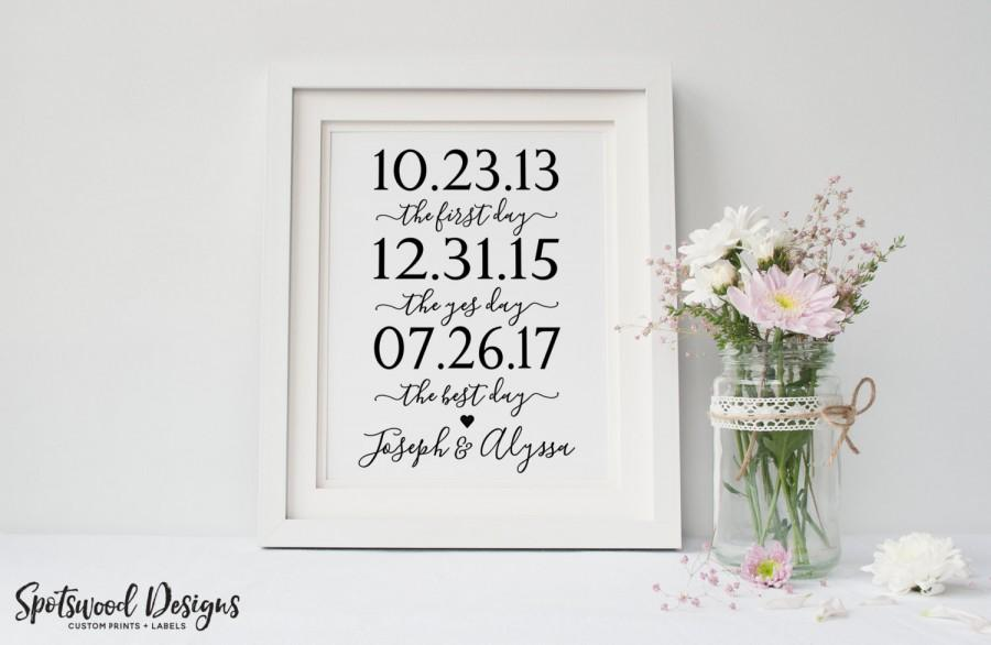 First Day, Yes Day, Best Day Custom Print Our Love Story