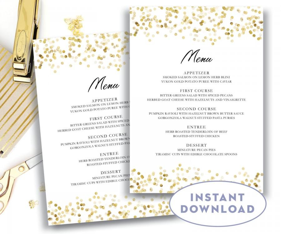 Gold Wedding Menu Template 5x7 Editable Text Microsoft Word Menu