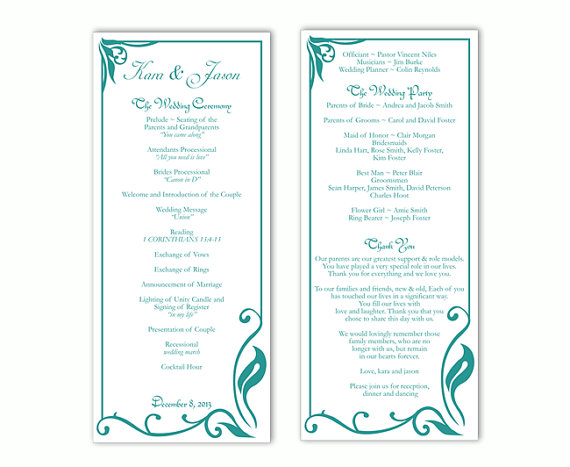 Wedding Program Template DIY Editable Text Word File Download - wedding program templates for word
