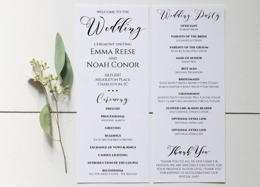 Wedding Program Printable, Wedding Program Template, Editable - wedding program template
