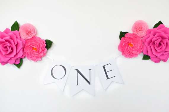 Paper Flowers And Birthday Banner - First Birthday Banner - ONE