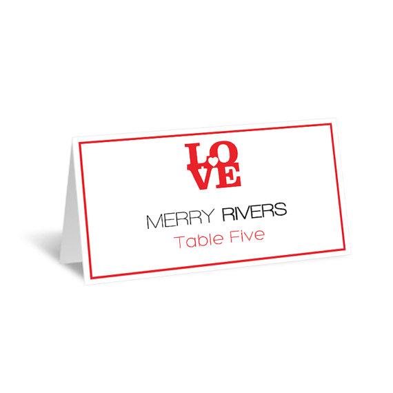 Wedding Place Card Template - LOVE Heart Foldover Printable Escort - folded place card templates