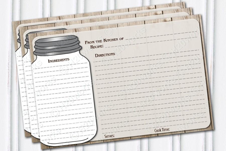 Bridal Shower Recipe Cards, Mason Jar Recipe Card Design, Rustic