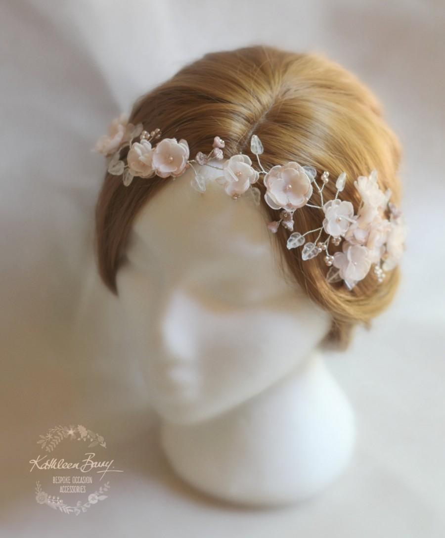 R1900 Blush Pink Hair Vine, Blossom Wedding Bridal Hair