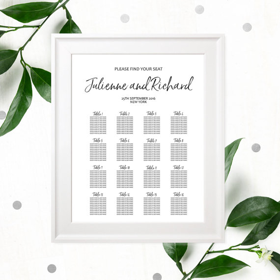 Hand Lettered Seating Chart Poster-DIY Printable Calligraphy Custom