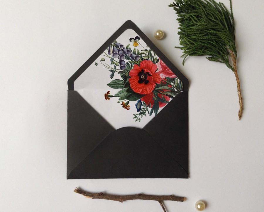 Envelope Liner Template, Vintage Botanical Floral, A6 Envelope, A7 - a7 envelope liner template