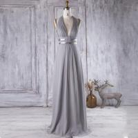 2016 Light Gray Bridesmaid Dress With Silver Belt, V Neck
