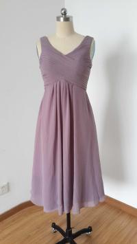 V-neck Purple Grey Chiffon Short Bridesmaid Dress #2648895 ...