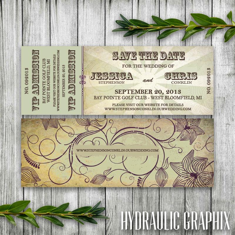 Wedding Save The Date Concert Ticket For Organic Wedding, Music