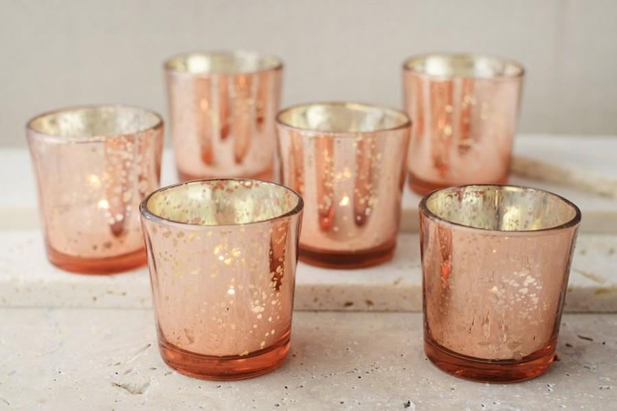 30 Rose Gold Mercury Blush Glass Votive Candle Holders