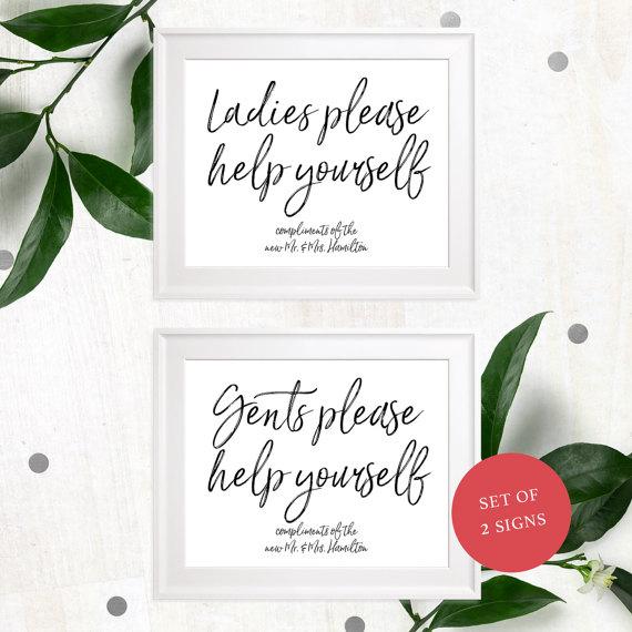 DIY Printable Bathroom Basket Signs Wedding-Ladies Gents Bathroom