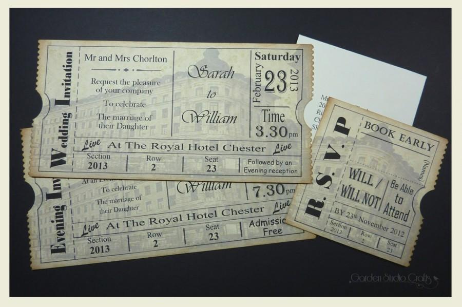 Ticket Style Wedding Invitation, Vintage Ticket Wedding Invitation