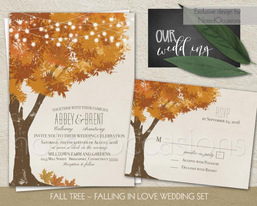 Rustic Fall Wedding Invitations Kit Autumn Oak Tree Wedding With