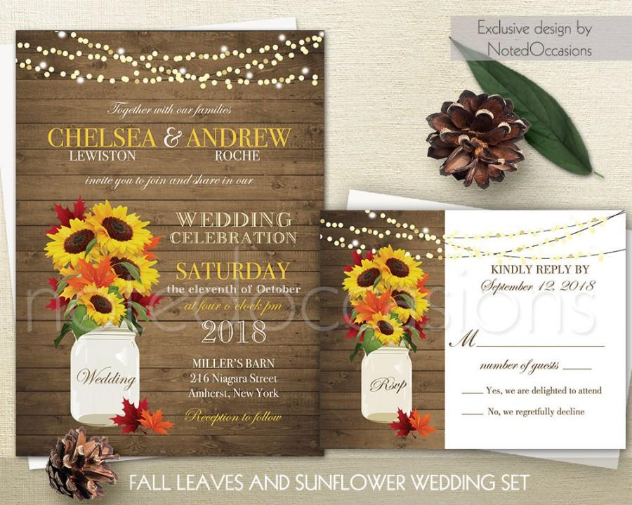 Rustic Fall Wedding Invitations Suite Fall Leaves Sunflowers Country