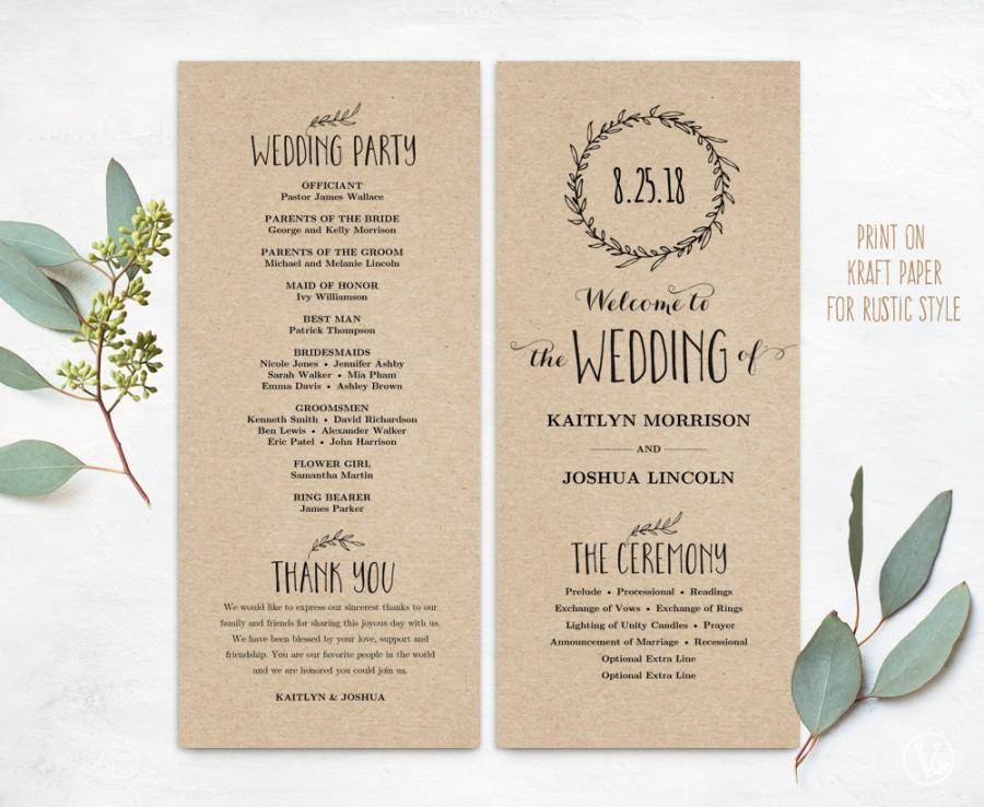 Printable Wedding Programs, DIY Wedding Programs, Simple Wedding