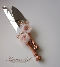 Rose Gold Wedding Cake Server Set & Knife Cake Cutting Set ...