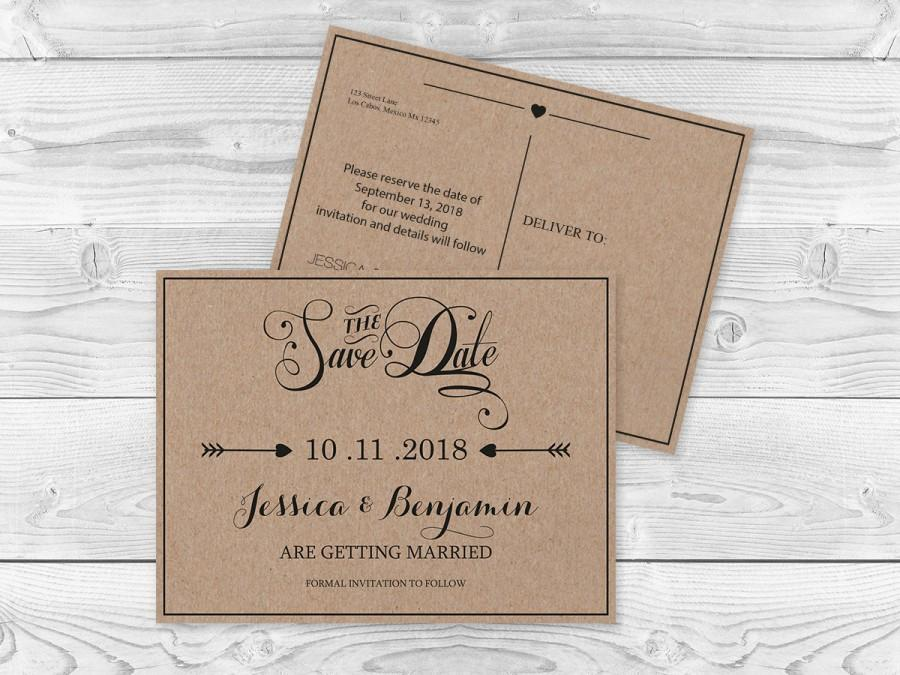 Kraft Paper Save The Date Postcard Templates - Rustic Calligraphy