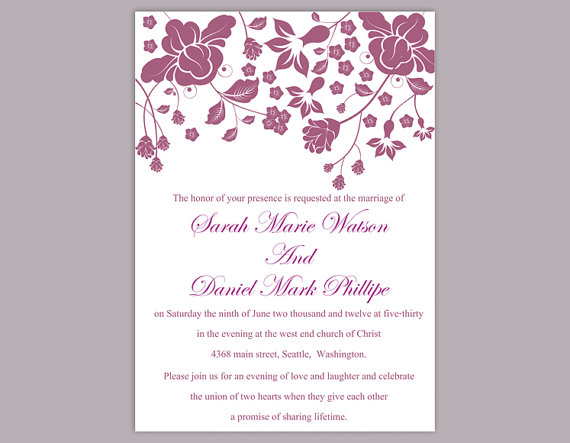 DIY Wedding Invitation Template Editable Word File Instant Download - wedding template