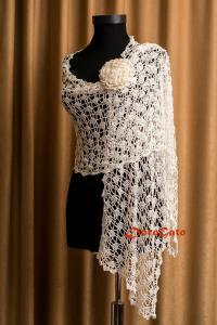 Bridal Shawl, Wedding Shawl, Ivory Crochet Shawl, Bridal ...